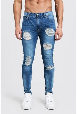 Mens Blue Super Skinny Jeans With All Over Distressing