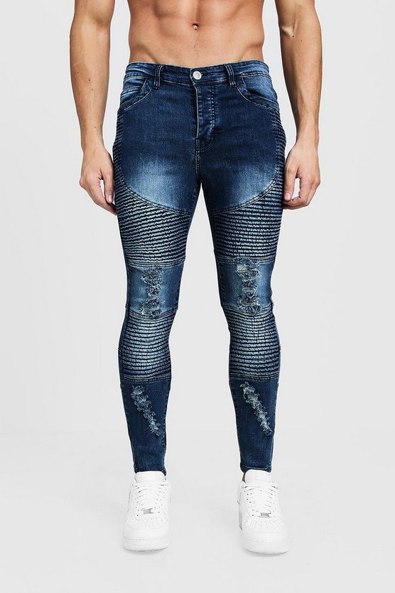 Blue Super Skinny Biker Jeans With Distressing
