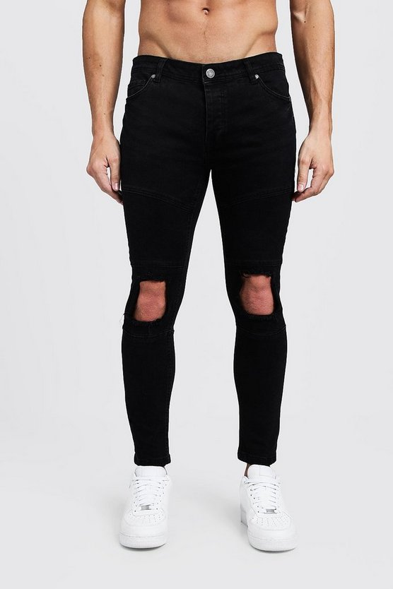 Washed black Skinny Fit Biker Jeans With Calf Zip