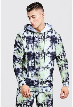 Mens Green Loose Fit Over The Head Tie Dye Hoodie