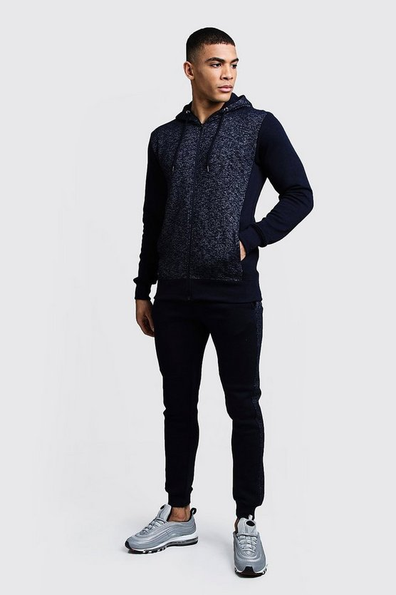Navy Zip Through Melange Tracksuit