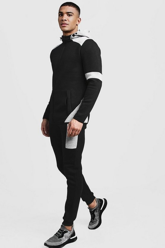 Hooded Contrast Zip Tracksuit With Panels