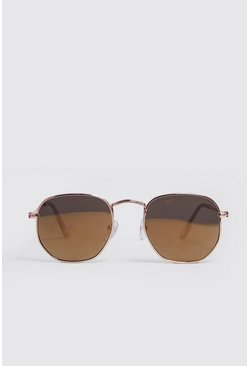 Gold Rounded Hexagon Frame Sunglasses