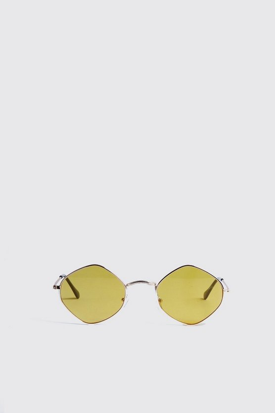 Mens Yellow Diamond Frame Tinted Sunglasses