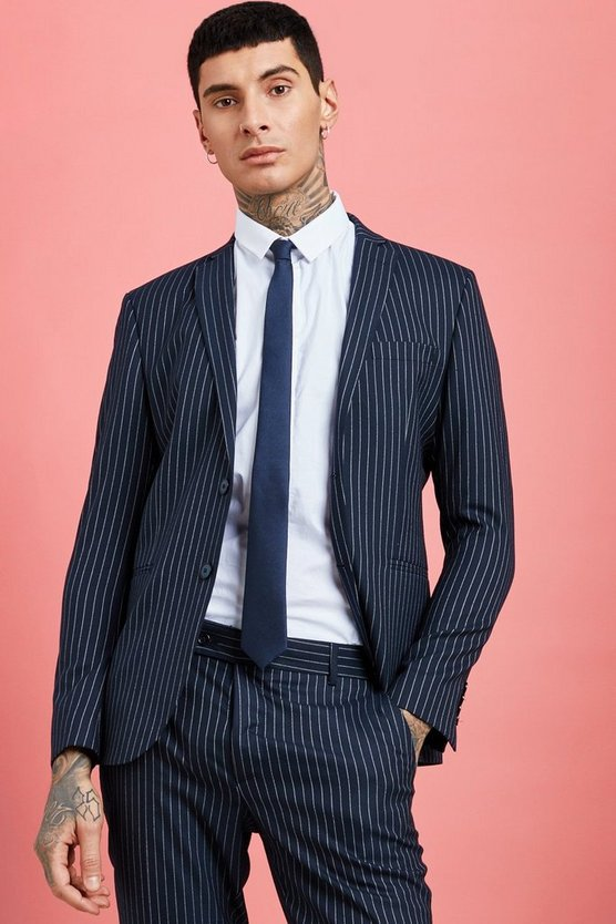 Wide Stripe Skinny Fit Suit Jacket