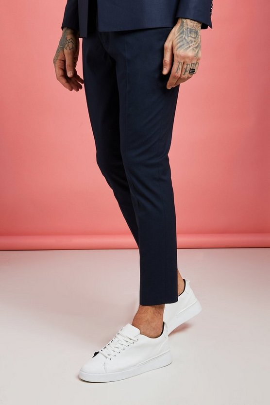Mens Navy Plain Skinny Fit Cropped Suit Trousers