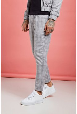 Mens Grey Check Detail Smart Cargo Jogger Pants