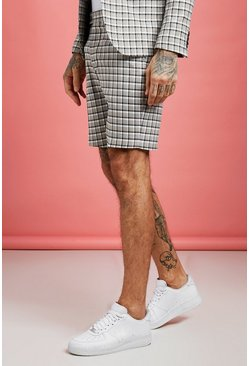 Mens Ecru Summer Check Smart Pin Tuck Short