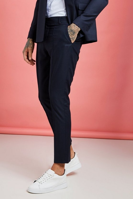 Navy Plain Skinny Fit Pintuck Suit Trouser