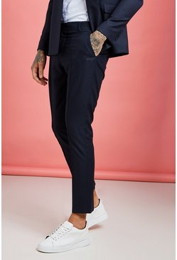 Mens Navy Plain Skinny Fit Pintuck Suit Trouser