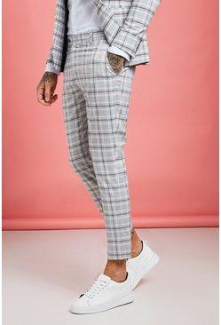 Grey Pastel Check Detail Skinny Cropped Pants