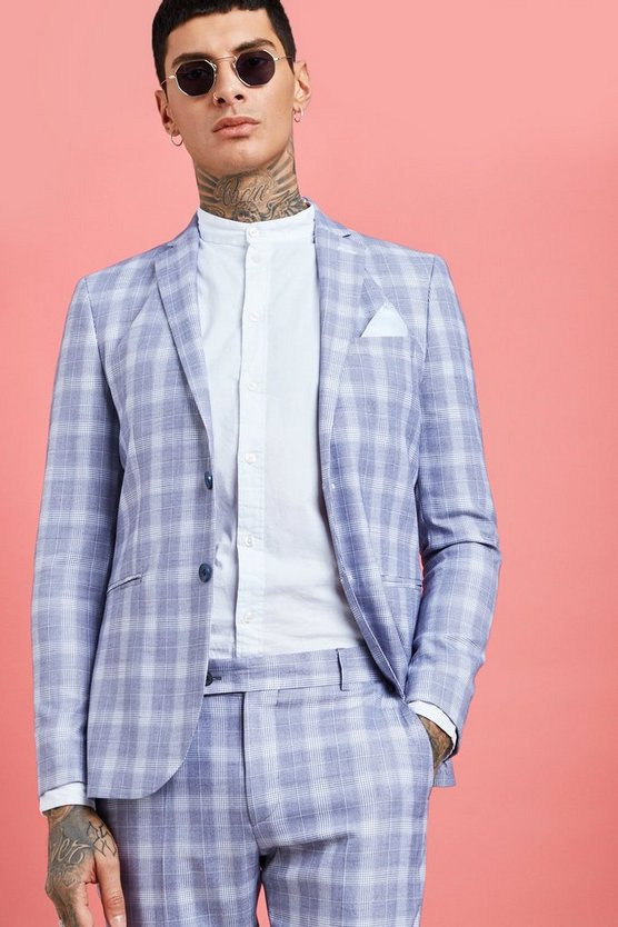 Pale Check Skinny Fit Suit Jacket