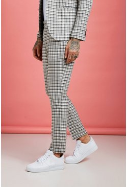 Mens Grey Summer Check Skinny Fit Suit Pants