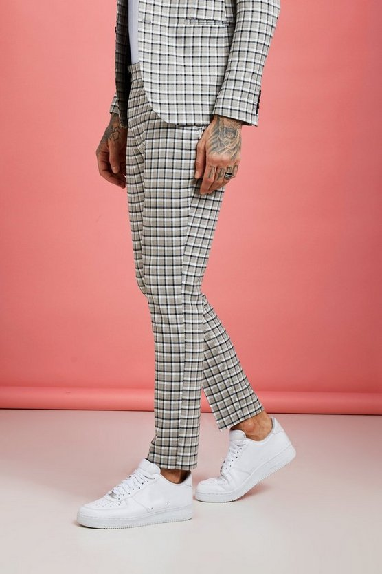 Mens Grey Summer Check Skinny Fit Suit Trouser