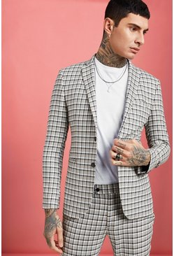 Mens Grey Summer Check Skinny Fit Suit Jacket