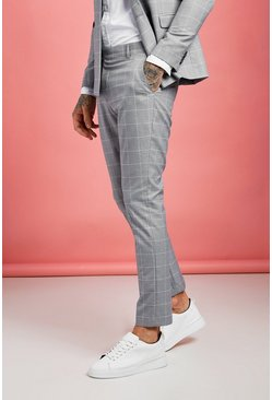 Mens Grey Jaspe Windowpane Check Tapered Trouser