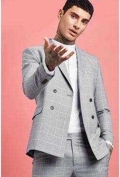 Grey Skinny Jaspe Windowpane Check Double Breasted Jacket