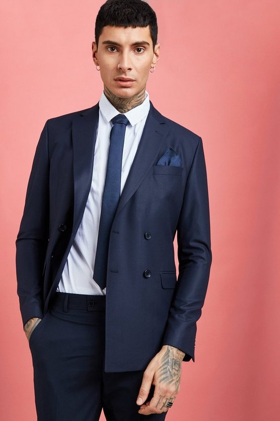 Mens Navy Plain Double Breasted Skinny Fit Suit Blazer