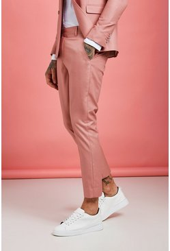 Pink Plain Skinny Fit Cropped Pants