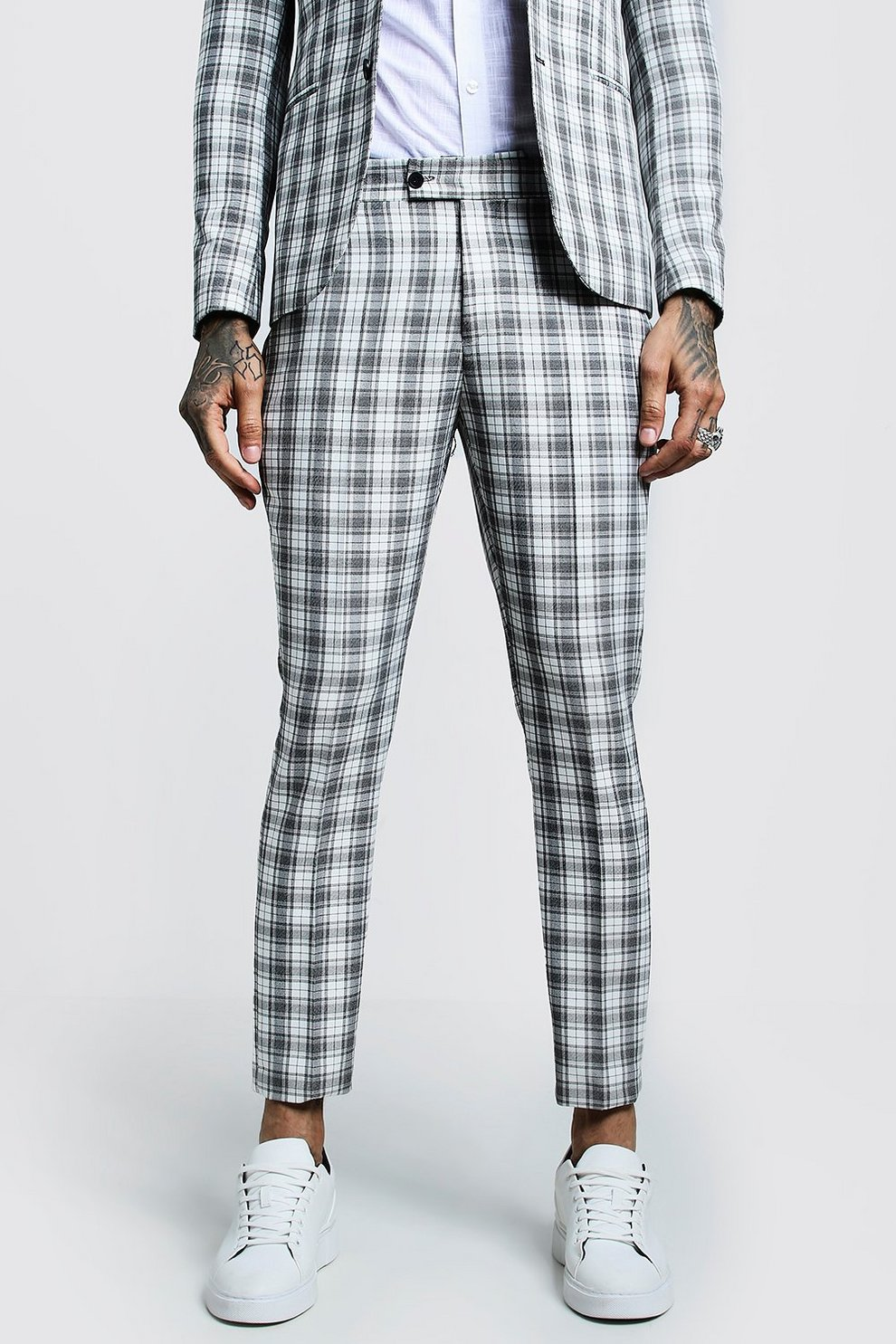 350a2162b0fef Check SKinny Fit Cropped Suit Trouser - boohooMAN