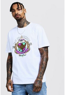 Mens White Loose Fit Crew T-Shirt With Embroidery