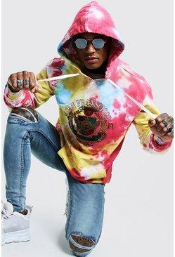 Mens Pink Loose Fit Tie Dye Hoodie With Embroidery