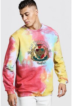 Mens Pink Loose Fit Tie Dye Sweater With Embroidery