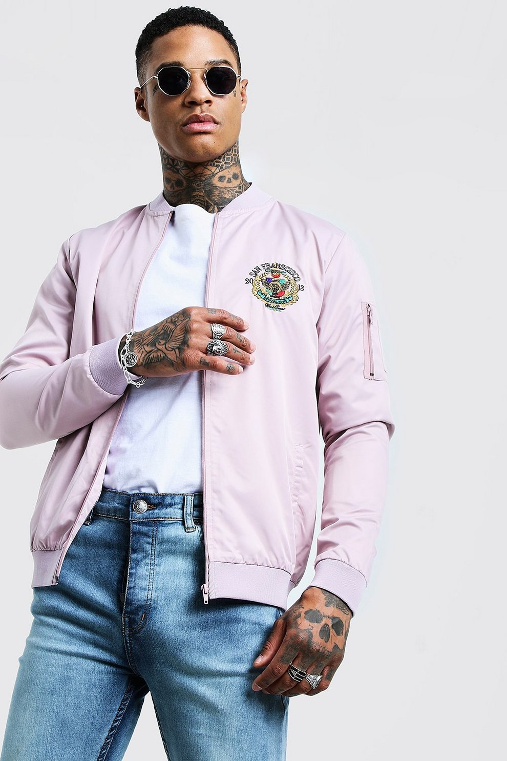 5387e16287b45 Bomber Jacket With Front & Back Embroidery - boohooMAN