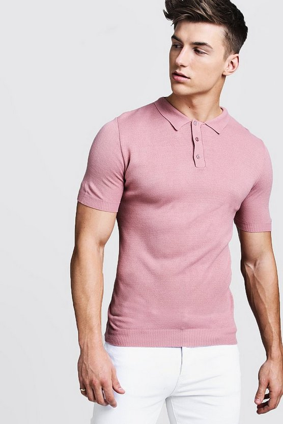 Dusky pink Regular Short Sleeve Knitted Polo