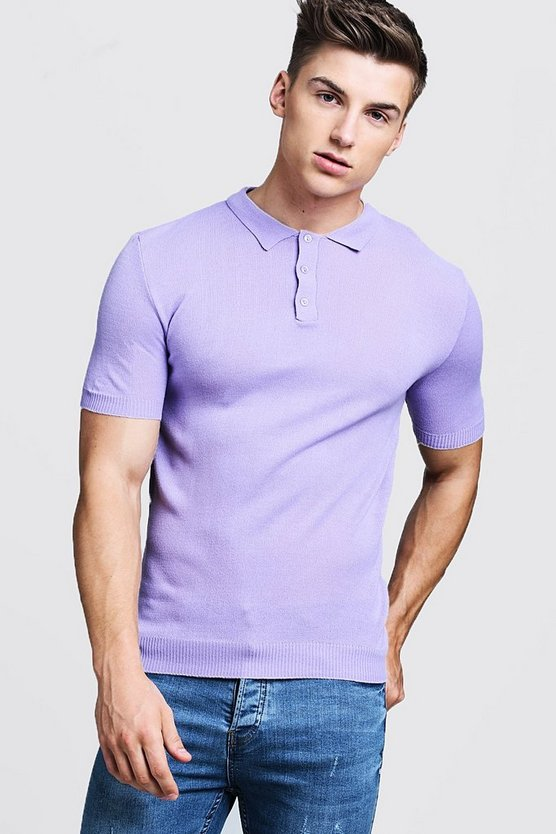 Lilac Regular Short Sleeve Knitted Polo