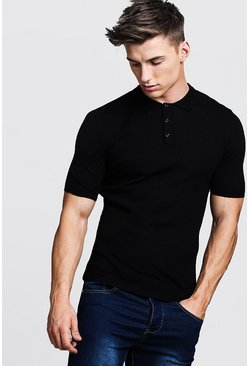 Mens Black Regular Short Sleeve Knitted Polo