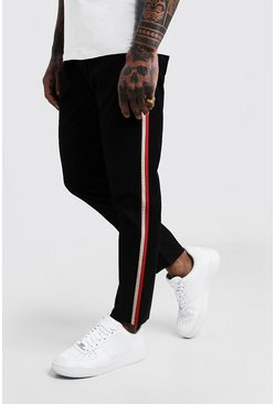 Mens Black Side Panel Detail Smart Jogger Pants