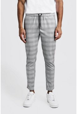 Mens Grey Check Tape Detail Smart Jogger