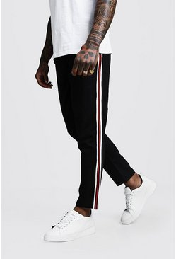 Mens Black Plain Tape Detail Smart Cropped Jogger