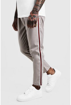 Mens Stone Plain Tape Detail Smart Cropped Jogger