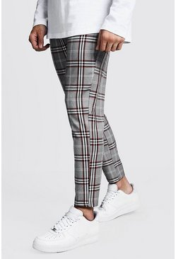 Mens Orange Check Cropped Smart Jogger Pants