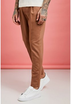 Mens Tobacco Pleat Front Plain Smart Pants