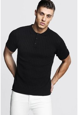 Mens Black Muscle Fit Ribbed Knitted Polo