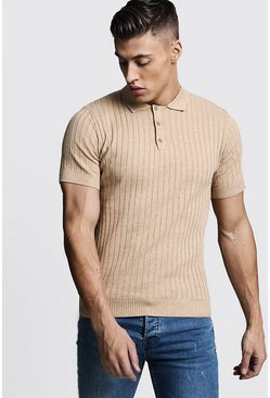 Camel Muscle Fit Ribbed Knitted Polo