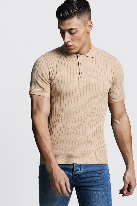 Mens Camel Muscle Fit Ribbed Knitted Polo