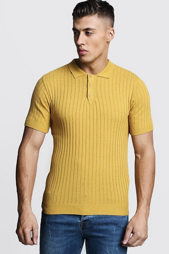 Mens Mustard Muscle Fit Ribbed Knitted Polo