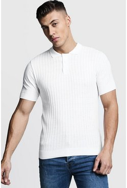 Ivory Muscle Fit Ribbed Knitted Polo