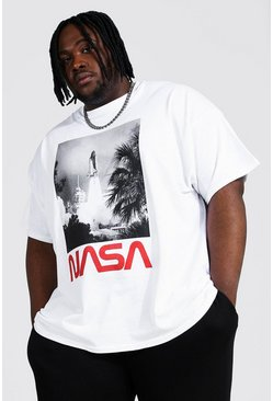 White Plus Size Nasa Launch License T-shirt