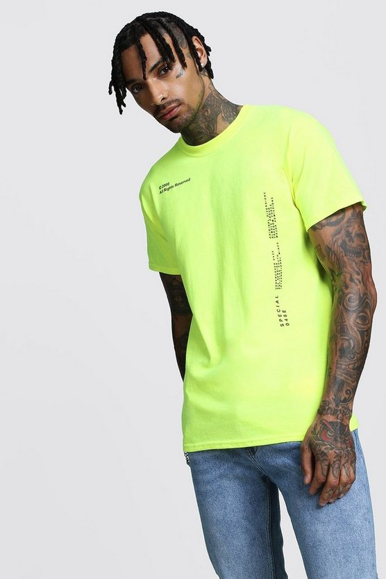 Regular Neon Script Printed Jersery Shirt