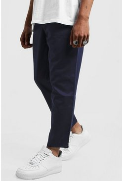 Mens Navy Drawstring Waist Slim Fit Chino Pants
