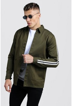 Mens Khaki Cotton Shacket With Tape Detail