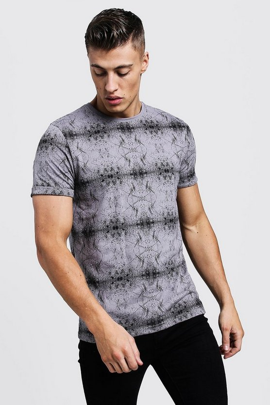 All Over Abstract Printed Regular Jersey Tee