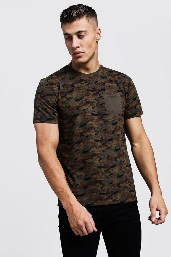 Mens Camo All Over Camo Print Regular Pocket Detail Tee