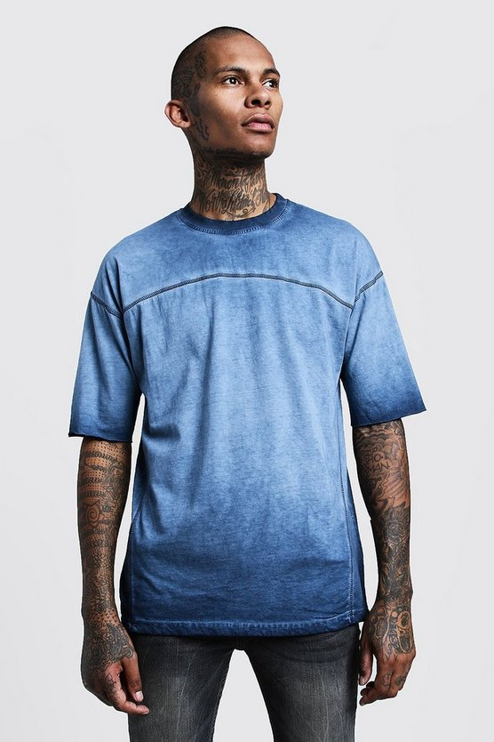 Mens Blue Loose Fit Washed Dyed Jersey Tee