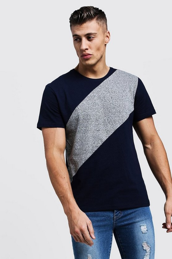Mens Navy Colour Block Panelled Jersey Tee